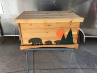Click to enlarge image <B>BLACK BEARS CEDAR CHEST</B> - <B>BEAUTIFUL AND RUGGED RUSTIC STORAGE</B>